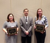 Dr. Christy Bratcher (left) and Dr. Kristine Urschel (right) received Outstanding Young Animal Scientist-Education and Outstanding Young Animal Scientist-Research, respectively. Pictured with outgoing Southern Section President Dr. Dave Lalman